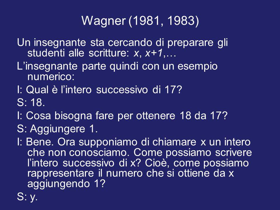 Wagner (1981, 1983) Un insegnante sta cercando di preparare gli studenti alle scritture: x, x+1,… L'insegnante parte quindi con un esempio numerico: I