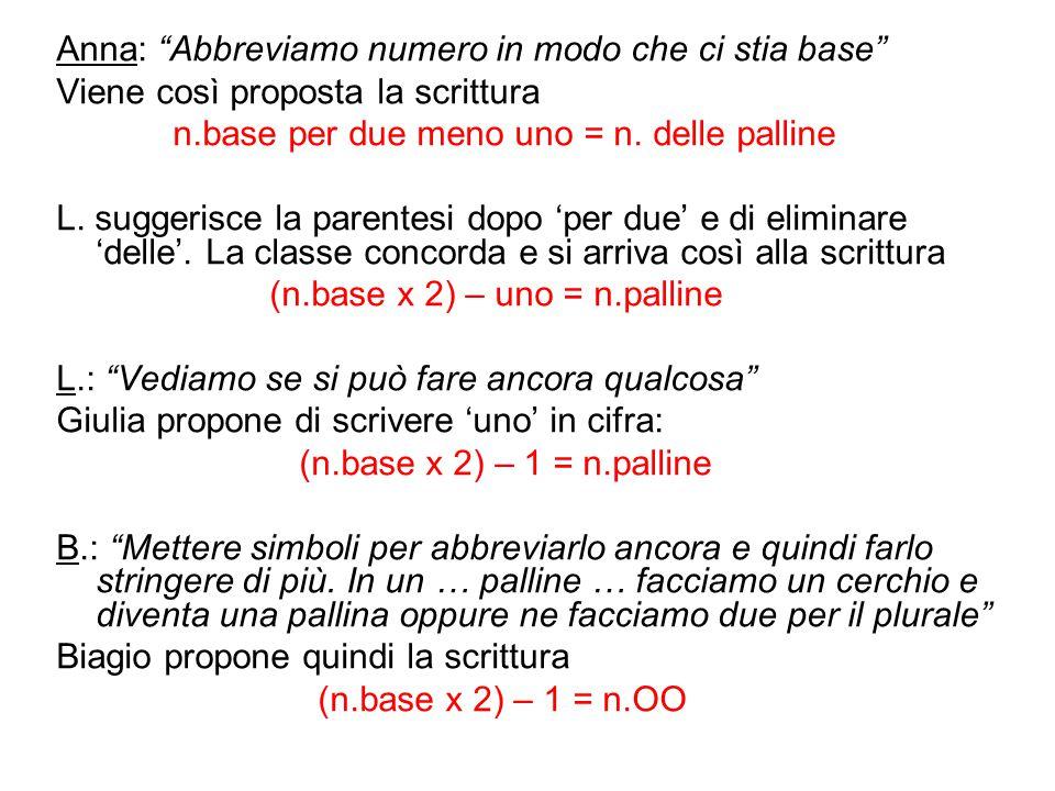 """Anna: """"Abbreviamo numero in modo che ci stia base"""" Viene così proposta la scrittura n.base per due meno uno = n. delle palline L. suggerisce la parent"""