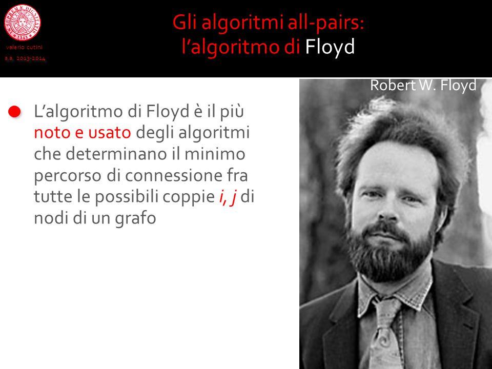 valerio cutini a.a. 2013-2014 L'algoritmo di Floyd è il più noto e usato degli algoritmi che determinano il minimo percorso di connessione fra tutte l