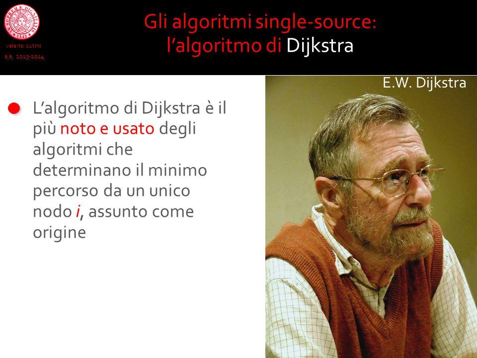 valerio cutini a.a. 2013-2014 L'algoritmo di Dijkstra è il più noto e usato degli algoritmi che determinano il minimo percorso da un unico nodo i, ass
