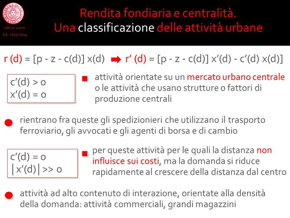 r (d) = [p - z - c(d)] x(d) valerio cutini a.a. 2013-2014 Rendita fondiaria e centralità. Una classificazione delle attività urbane r' (d) = [p - z -