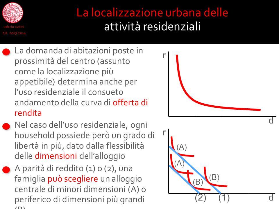 valerio cutini a.a. 2013-2014 La localizzazione urbana delle attività residenziali Nel caso dell'uso residenziale, ogni household possiede però un gra