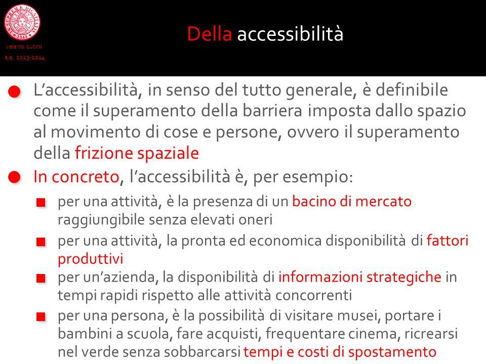 valerio cutini a.a. 2013-2014 In concreto, l'accessibilità è, per esempio: Della accessibilità per una attività, è la presenza di un bacino di mercato