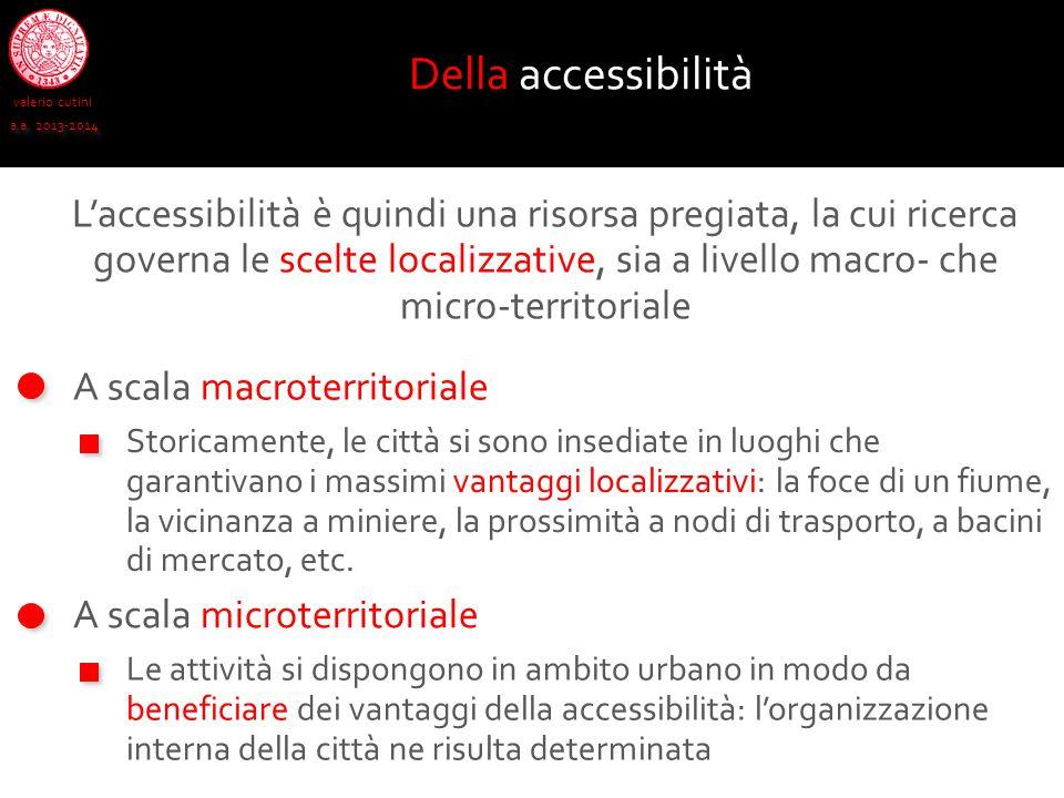 valerio cutini a.a. 2013-2014 A scala macroterritoriale Della accessibilità Storicamente, le città si sono insediate in luoghi che garantivano i massi