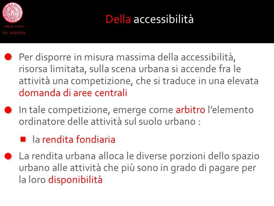valerio cutini a.a. 2013-2014 Per disporre in misura massima della accessibilità, risorsa limitata, sulla scena urbana si accende fra le attività una