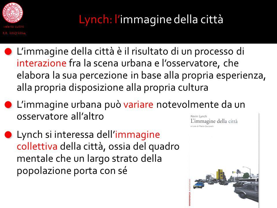 valerio cutini a.a. 2013-2014 Lynch: l'immagine della città L'immagine della città è il risultato di un processo di interazione fra la scena urbana e