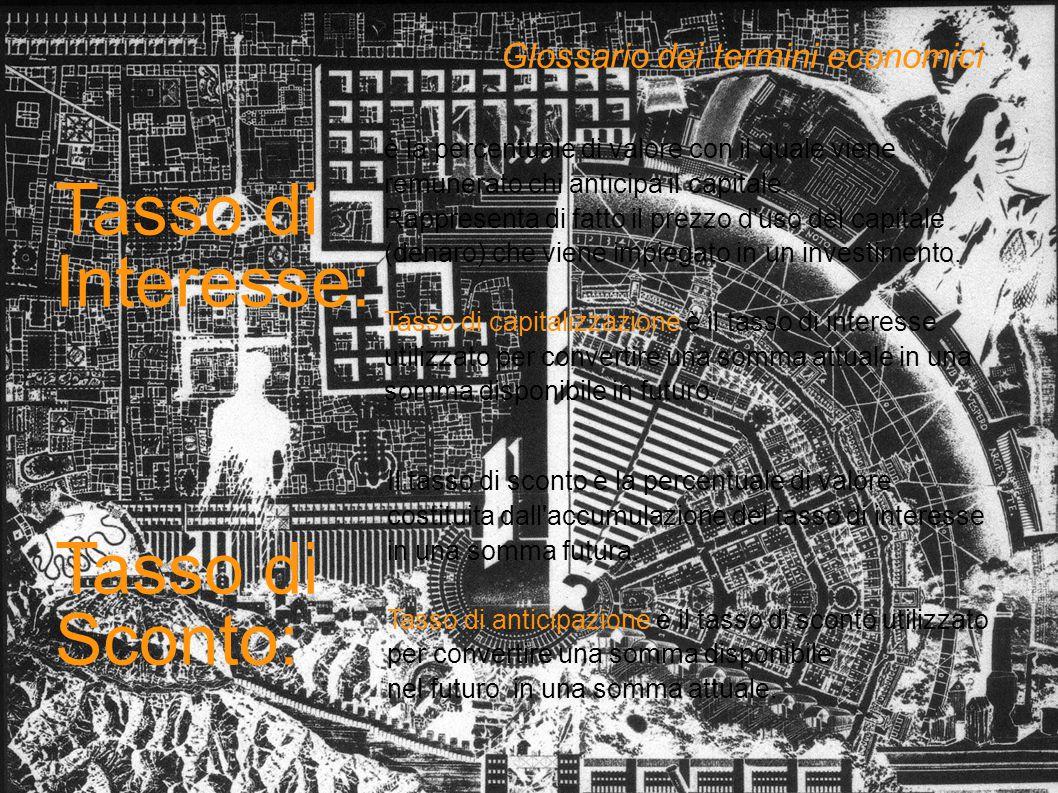 Tasso di Interesse: Tasso di Sconto: Glossario dei termini economici Il tasso di sconto è la percentuale di valore costituita dall'accumulazione del t
