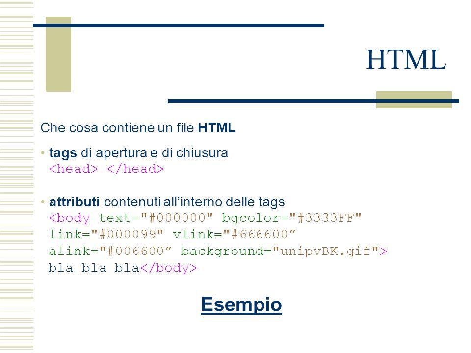 HTML Che cosa contiene un file HTML tags di apertura e di chiusura attributi contenuti all'interno delle tags <body text= #000000 bgcolor= #3333FF link= #000099 vlink= #666600 alink= #006600 background= unipvBK.gif > bla bla bla Esempio