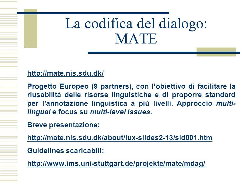 La codifica del dialogo: MATE http://mate.nis.sdu.dk/ Progetto Europeo (9 partners), con l'obiettivo di facilitare la riusabilità delle risorse linguistiche e di proporre standard per l'annotazione linguistica a più livelli.