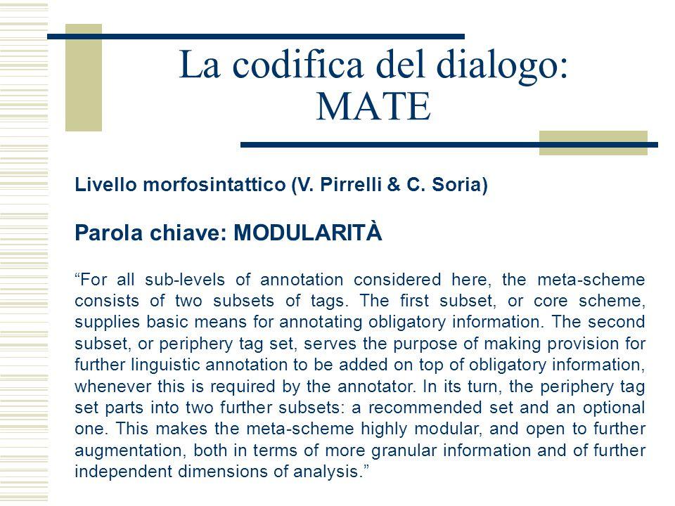"""La codifica del dialogo: MATE Livello morfosintattico (V. Pirrelli & C. Soria) Parola chiave: MODULARITÀ """"For all sub-levels of annotation considered"""