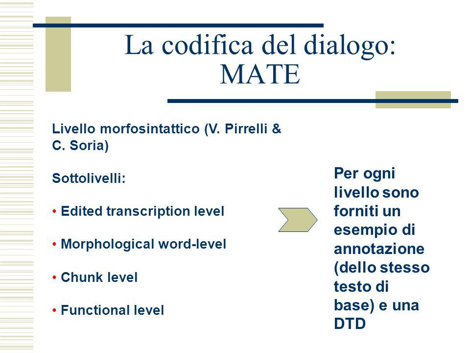 La codifica del dialogo: MATE Livello morfosintattico (V. Pirrelli & C. Soria) Sottolivelli: Edited transcription level Morphological word-level Chunk