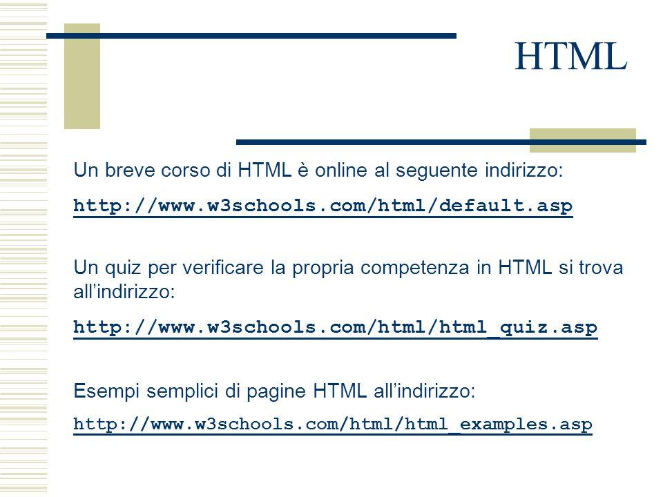 HTML Un breve corso di HTML è online al seguente indirizzo: http://www.w3schools.com/html/default.asp Un quiz per verificare la propria competenza in HTML si trova all'indirizzo: http://www.w3schools.com/html/html_quiz.asp Esempi semplici di pagine HTML all'indirizzo: http://www.w3schools.com/html/html_examples.asp