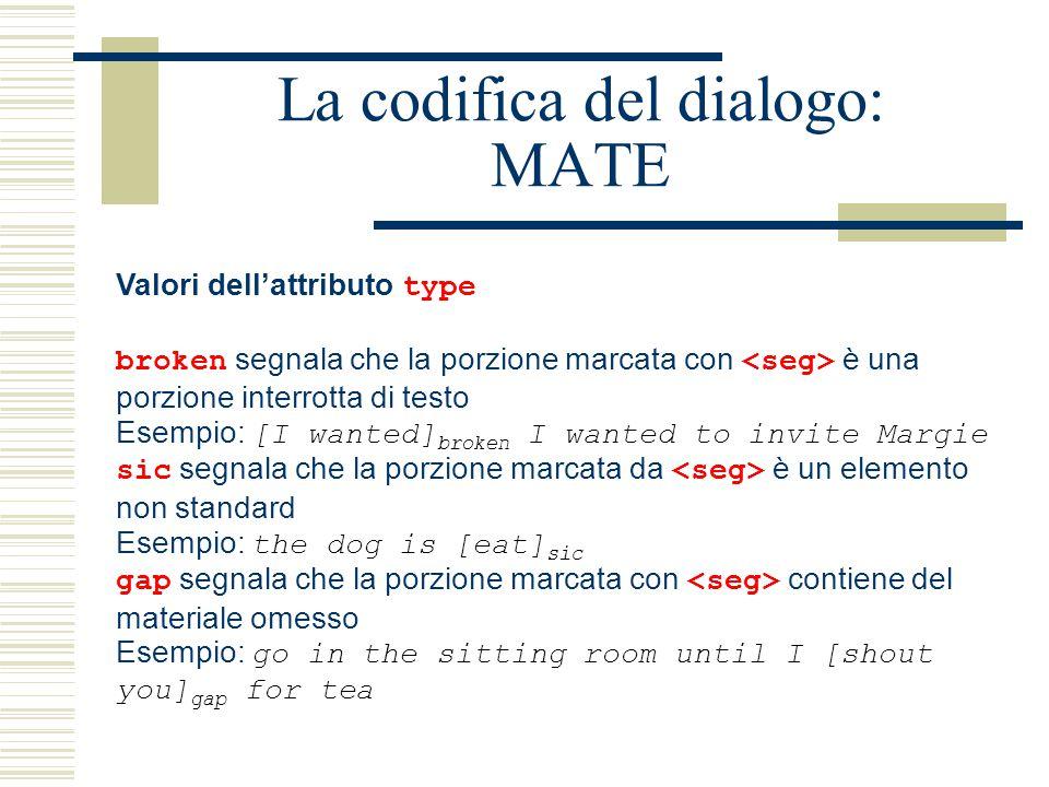 La codifica del dialogo: MATE Valori dell'attributo type broken segnala che la porzione marcata con è una porzione interrotta di testo Esempio: [I wan