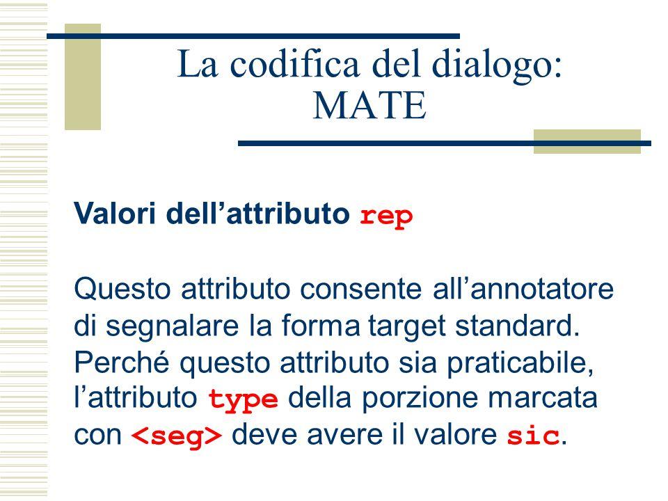 La codifica del dialogo: MATE Valori dell'attributo rep Questo attributo consente all'annotatore di segnalare la forma target standard. Perché questo