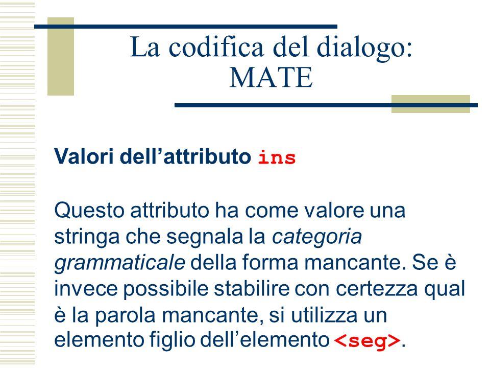 La codifica del dialogo: MATE Valori dell'attributo ins Questo attributo ha come valore una stringa che segnala la categoria grammaticale della forma mancante.