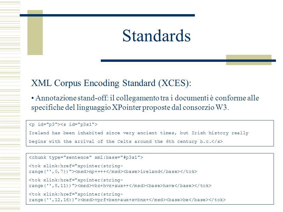 Standards XML Corpus Encoding Standard (XCES): Annotazione stand-off: il collegamento tra i documenti è conforme alle specifiche del linguaggio XPointer proposte dal consorzio W3.
