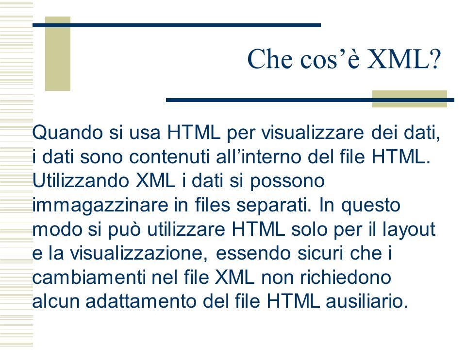 Che cos'è XML? Quando si usa HTML per visualizzare dei dati, i dati sono contenuti all'interno del file HTML. Utilizzando XML i dati si possono immaga
