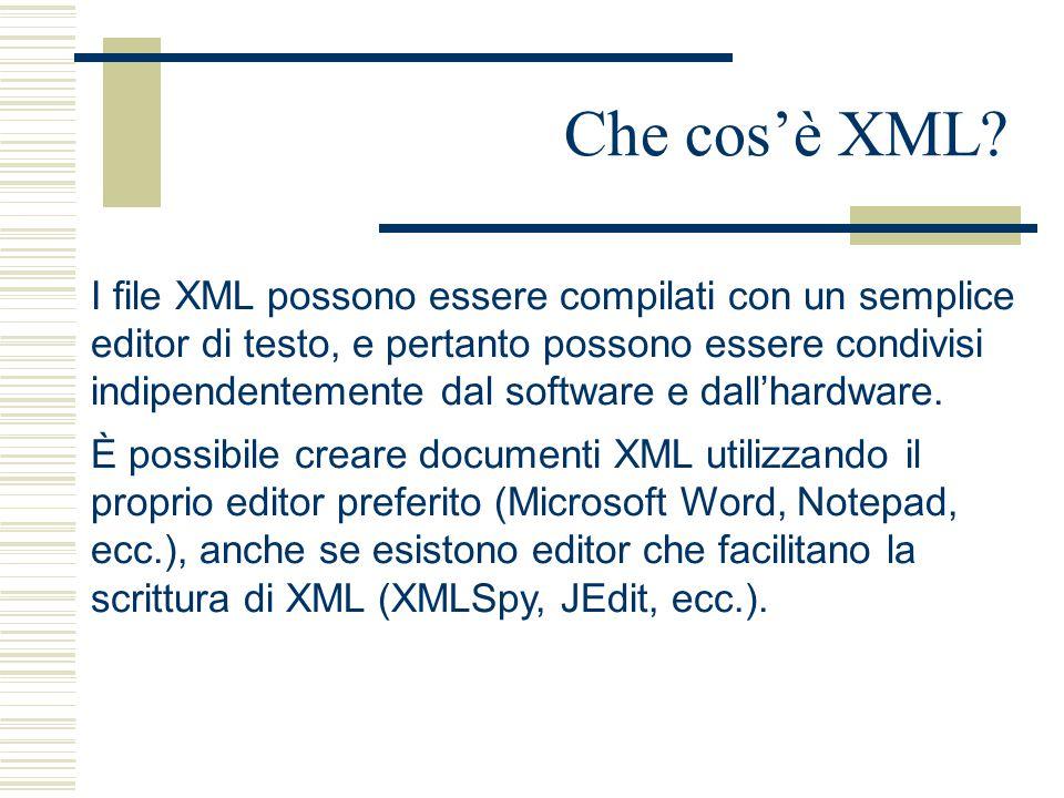 Che cos'è XML? I file XML possono essere compilati con un semplice editor di testo, e pertanto possono essere condivisi indipendentemente dal software