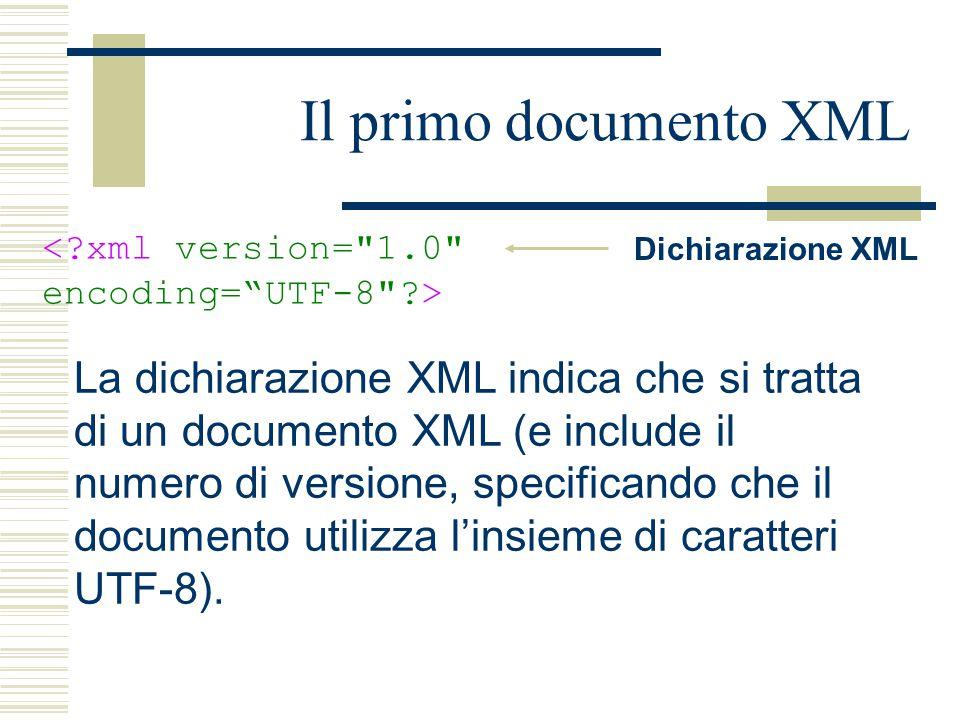Il primo documento XML Dichiarazione XML La dichiarazione XML indica che si tratta di un documento XML (e include il numero di versione, specificando che il documento utilizza l'insieme di caratteri UTF-8).