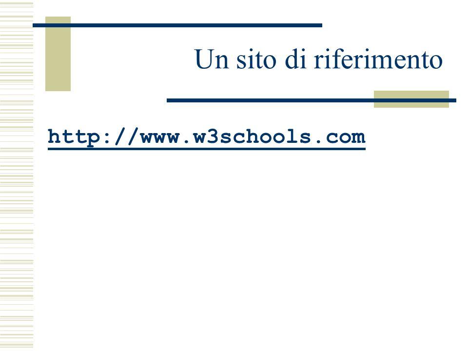 Un sito di riferimento http://www.w3schools.com
