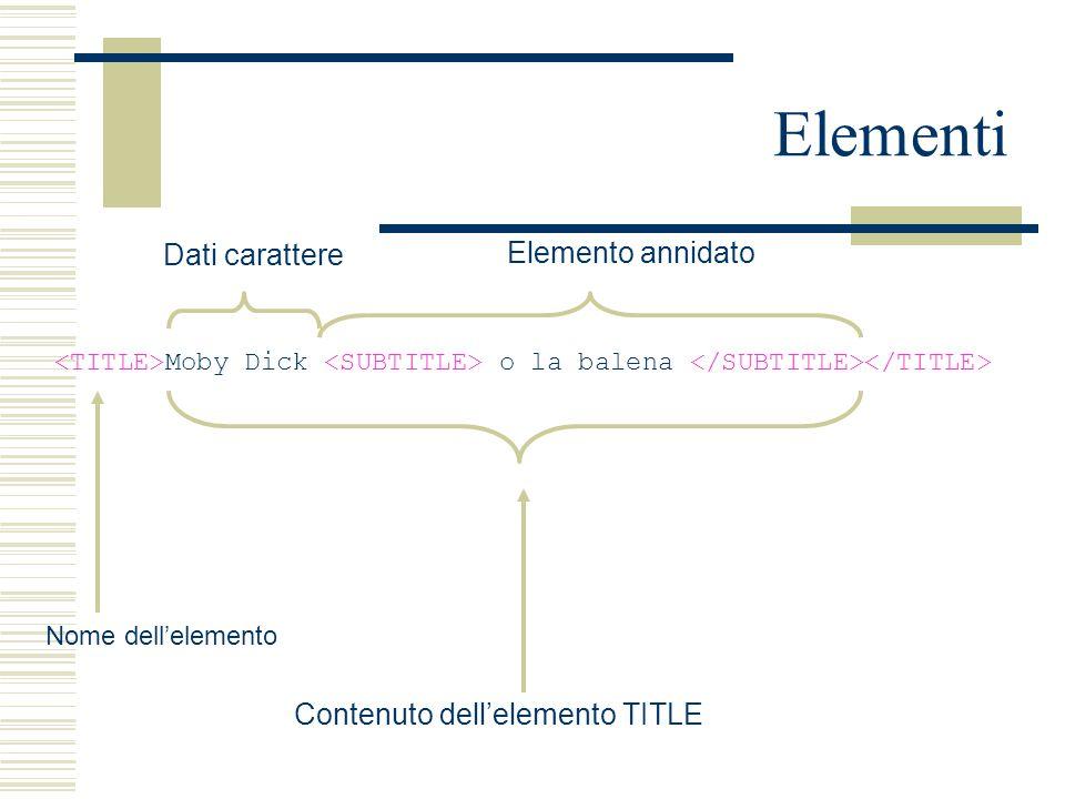 Elementi Moby Dick o la balena Nome dell'elemento Contenuto dell'elemento TITLE Elemento annidato Dati carattere