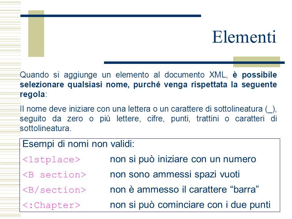 Elementi Quando si aggiunge un elemento al documento XML, è possibile selezionare qualsiasi nome, purché venga rispettata la seguente regola: Il nome deve iniziare con una lettera o un carattere di sottolineatura (_), seguito da zero o più lettere, cifre, punti, trattini o caratteri di sottolineatura.