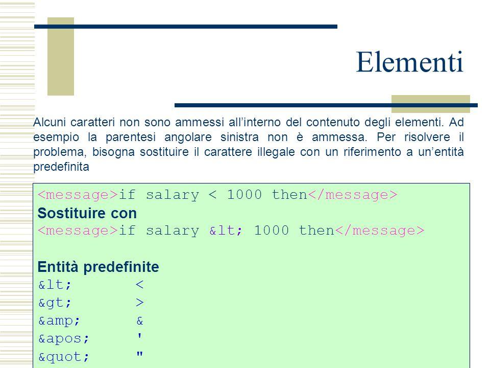 Elementi Alcuni caratteri non sono ammessi all'interno del contenuto degli elementi. Ad esempio la parentesi angolare sinistra non è ammessa. Per riso