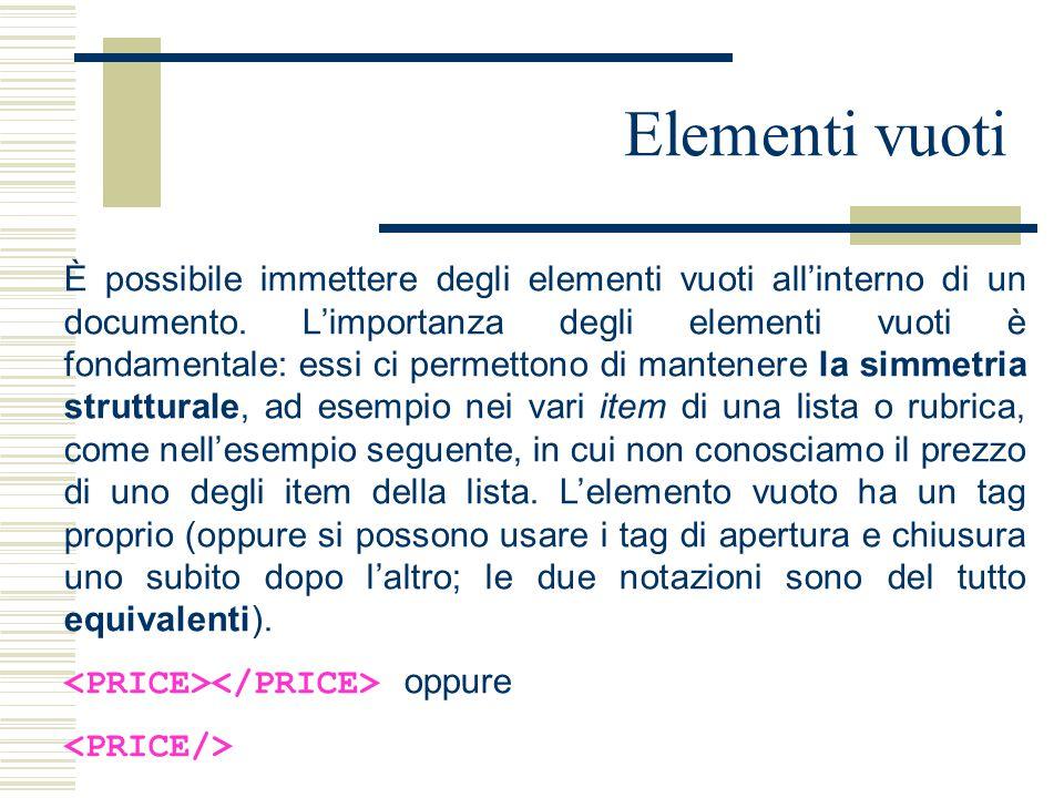 Elementi vuoti È possibile immettere degli elementi vuoti all'interno di un documento. L'importanza degli elementi vuoti è fondamentale: essi ci perme
