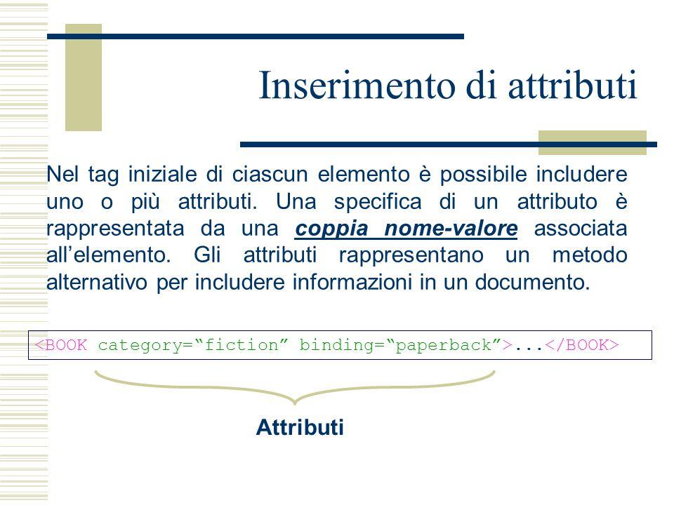 Inserimento di attributi Nel tag iniziale di ciascun elemento è possibile includere uno o più attributi. Una specifica di un attributo è rappresentata