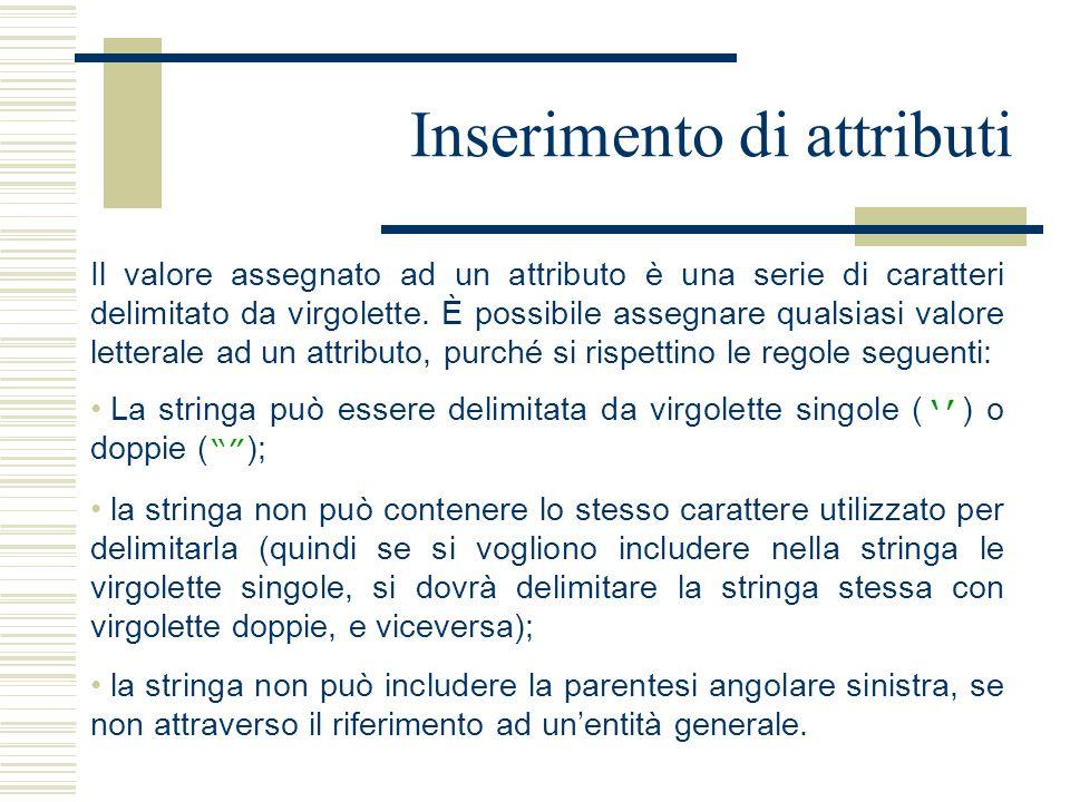 Inserimento di attributi Il valore assegnato ad un attributo è una serie di caratteri delimitato da virgolette.