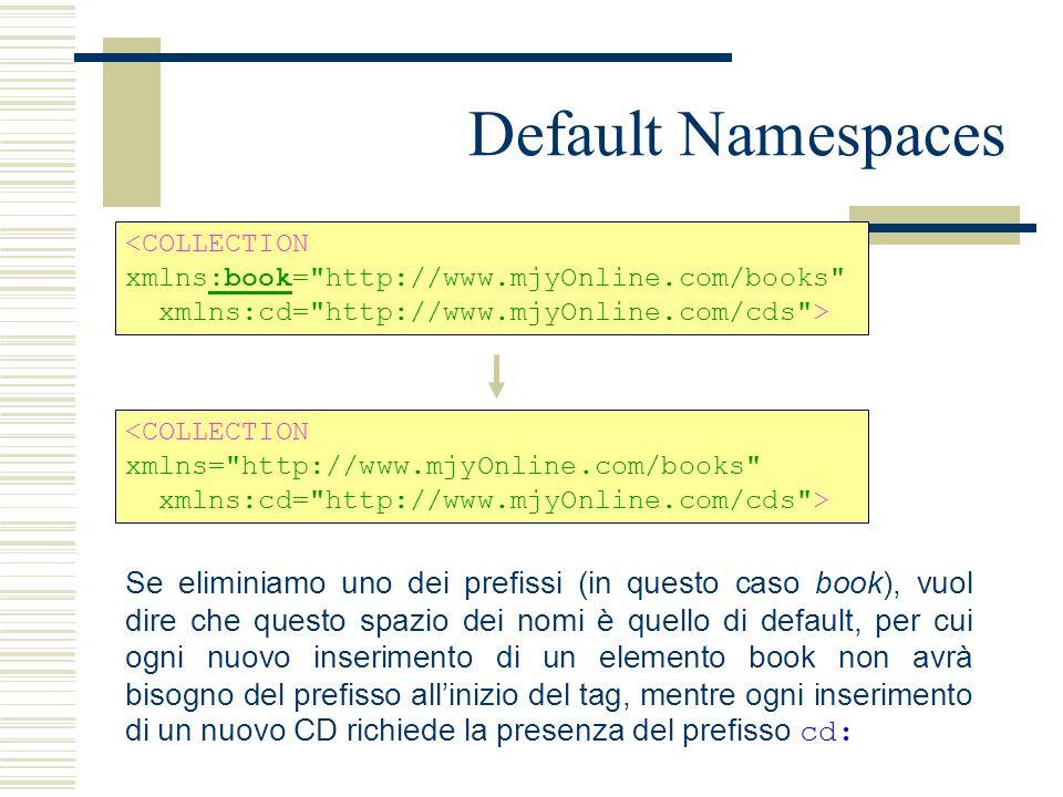 Default Namespaces <COLLECTION xmlns:book= http://www.mjyOnline.com/books xmlns:cd= http://www.mjyOnline.com/cds > <COLLECTION xmlns= http://www.mjyOnline.com/books xmlns:cd= http://www.mjyOnline.com/cds > Se eliminiamo uno dei prefissi (in questo caso book), vuol dire che questo spazio dei nomi è quello di default, per cui ogni nuovo inserimento di un elemento book non avrà bisogno del prefisso all'inizio del tag, mentre ogni inserimento di un nuovo CD richiede la presenza del prefisso cd: