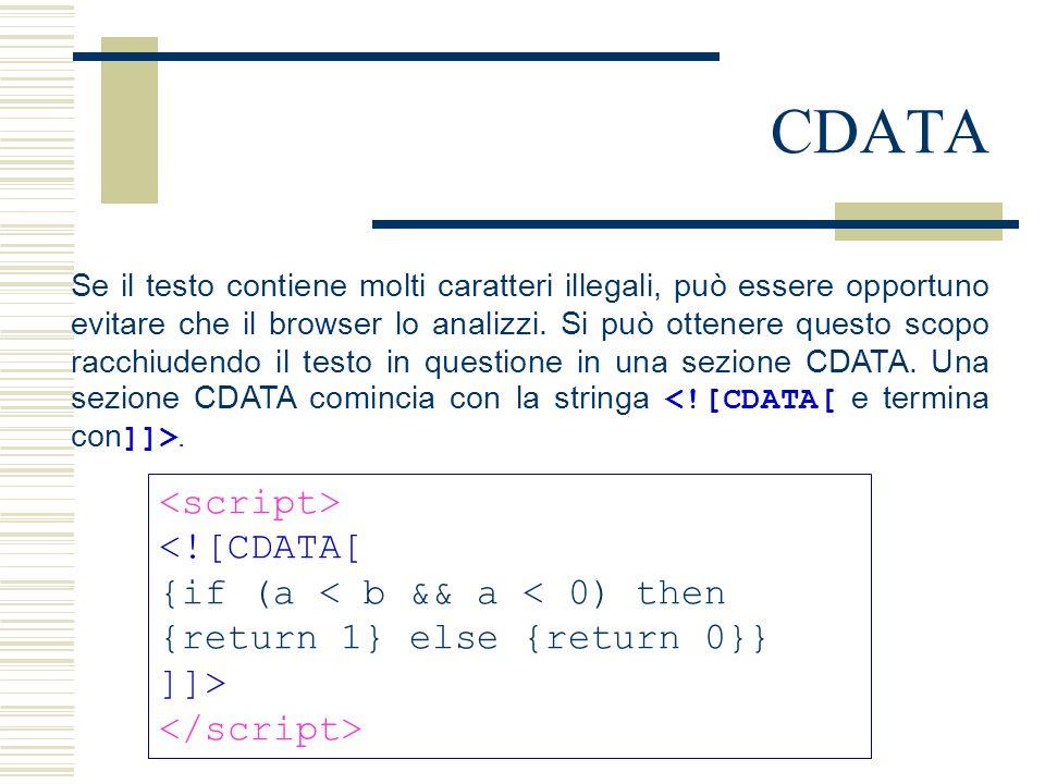CDATA Se il testo contiene molti caratteri illegali, può essere opportuno evitare che il browser lo analizzi. Si può ottenere questo scopo racchiudend