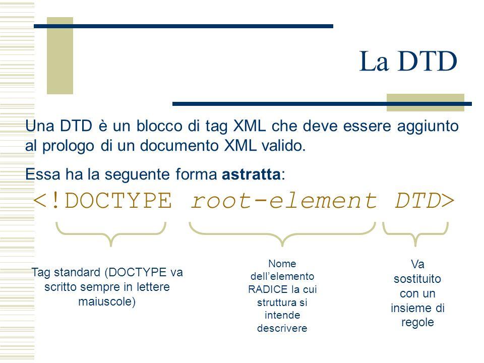La DTD Una DTD è un blocco di tag XML che deve essere aggiunto al prologo di un documento XML valido. Essa ha la seguente forma astratta: Tag standard