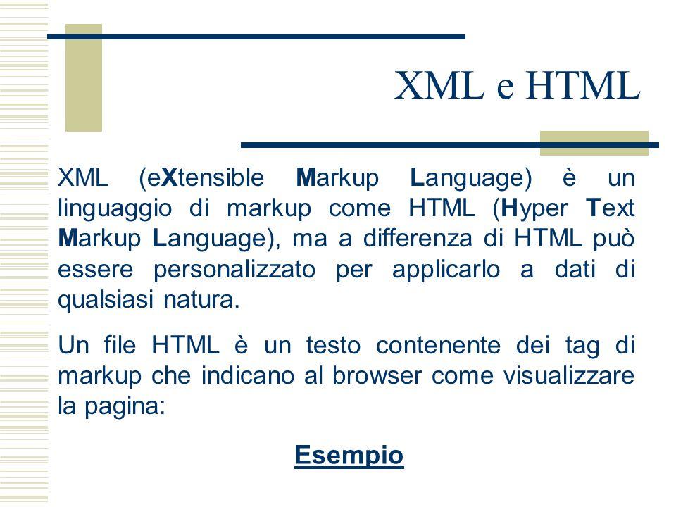 XML e HTML XML (eXtensible Markup Language) è un linguaggio di markup come HTML (Hyper Text Markup Language), ma a differenza di HTML può essere personalizzato per applicarlo a dati di qualsiasi natura.