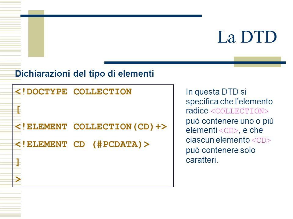 La DTD Dichiarazioni del tipo di elementi <!DOCTYPE COLLECTION [ ] > In questa DTD si specifica che l'elemento radice può contenere uno o più elementi, e che ciascun elemento può contenere solo caratteri.