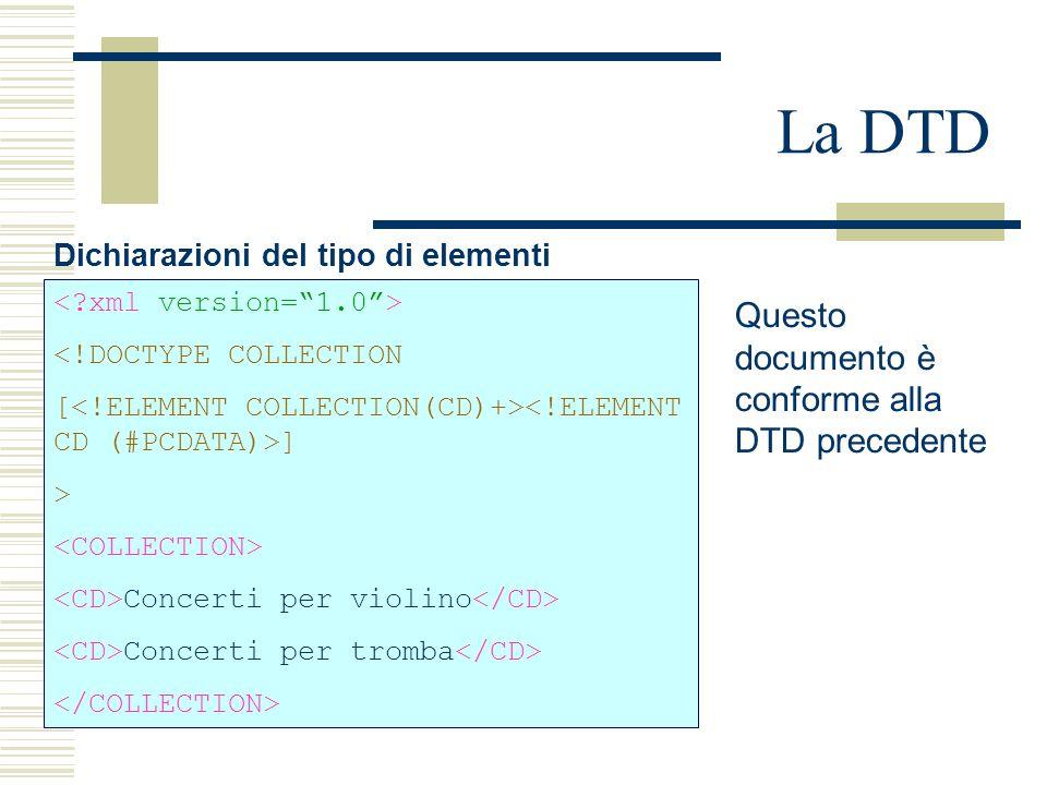 La DTD Dichiarazioni del tipo di elementi <!DOCTYPE COLLECTION [ ] > Concerti per violino Concerti per tromba Questo documento è conforme alla DTD pre