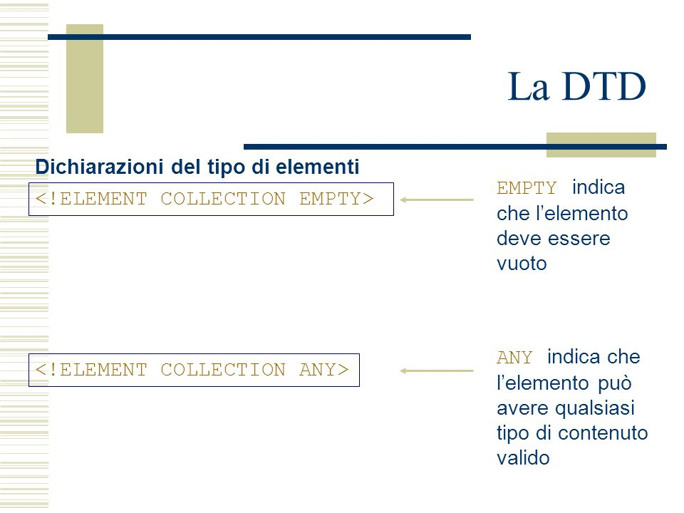 La DTD Dichiarazioni del tipo di elementi EMPTY indica che l'elemento deve essere vuoto ANY indica che l'elemento può avere qualsiasi tipo di contenuto valido