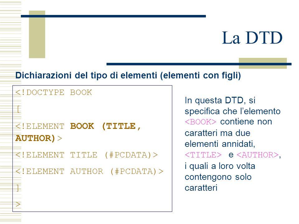 La DTD Dichiarazioni del tipo di elementi (elementi con figli) <!DOCTYPE BOOK [ ] > In questa DTD, si specifica che l'elemento contiene non caratteri ma due elementi annidati, e, i quali a loro volta contengono solo caratteri