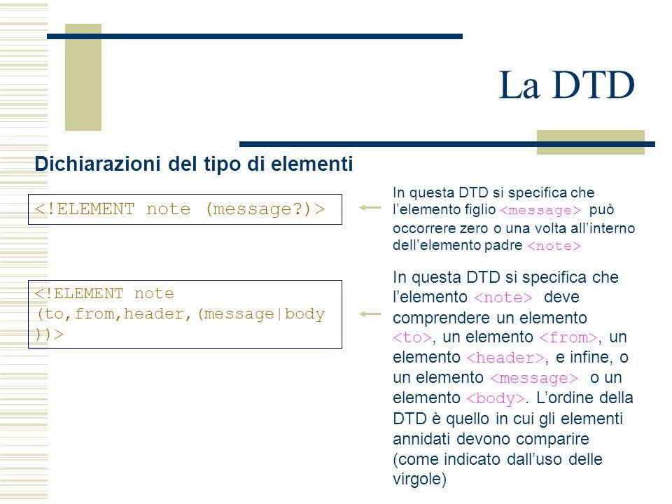 La DTD Dichiarazioni del tipo di elementi In questa DTD si specifica che l'elemento figlio può occorrere zero o una volta all'interno dell'elemento padre In questa DTD si specifica che l'elemento deve comprendere un elemento, un elemento, un elemento, e infine, o un elemento o un elemento.