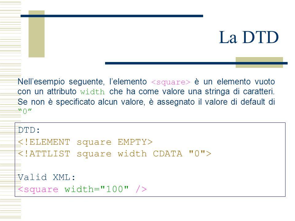 La DTD DTD: Valid XML: Nell'esempio seguente, l'elemento è un elemento vuoto con un attributo width che ha come valore una stringa di caratteri.