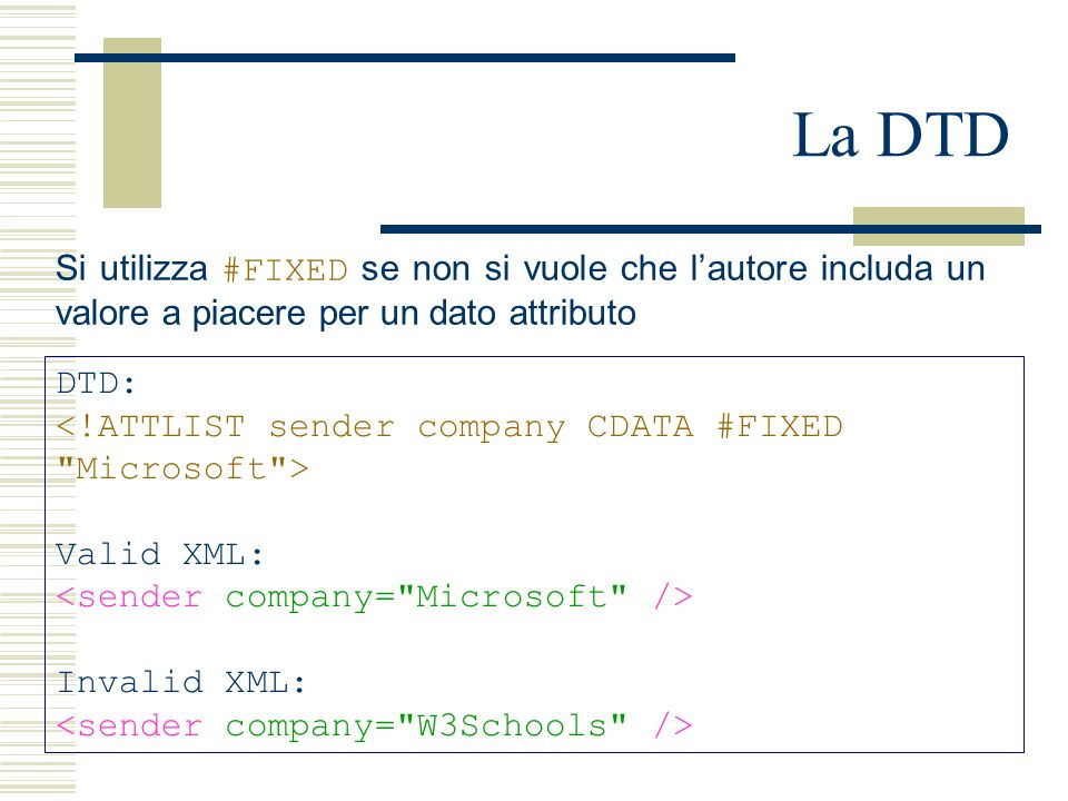 La DTD DTD: Valid XML: Invalid XML: Si utilizza #FIXED se non si vuole che l'autore includa un valore a piacere per un dato attributo