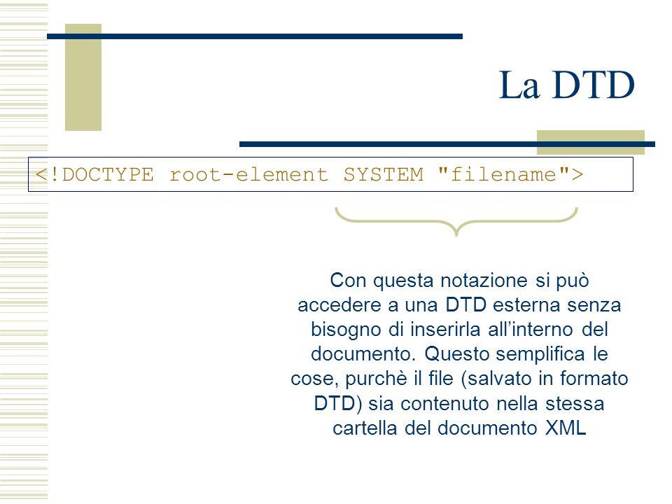 La DTD Con questa notazione si può accedere a una DTD esterna senza bisogno di inserirla all'interno del documento. Questo semplifica le cose, purchè