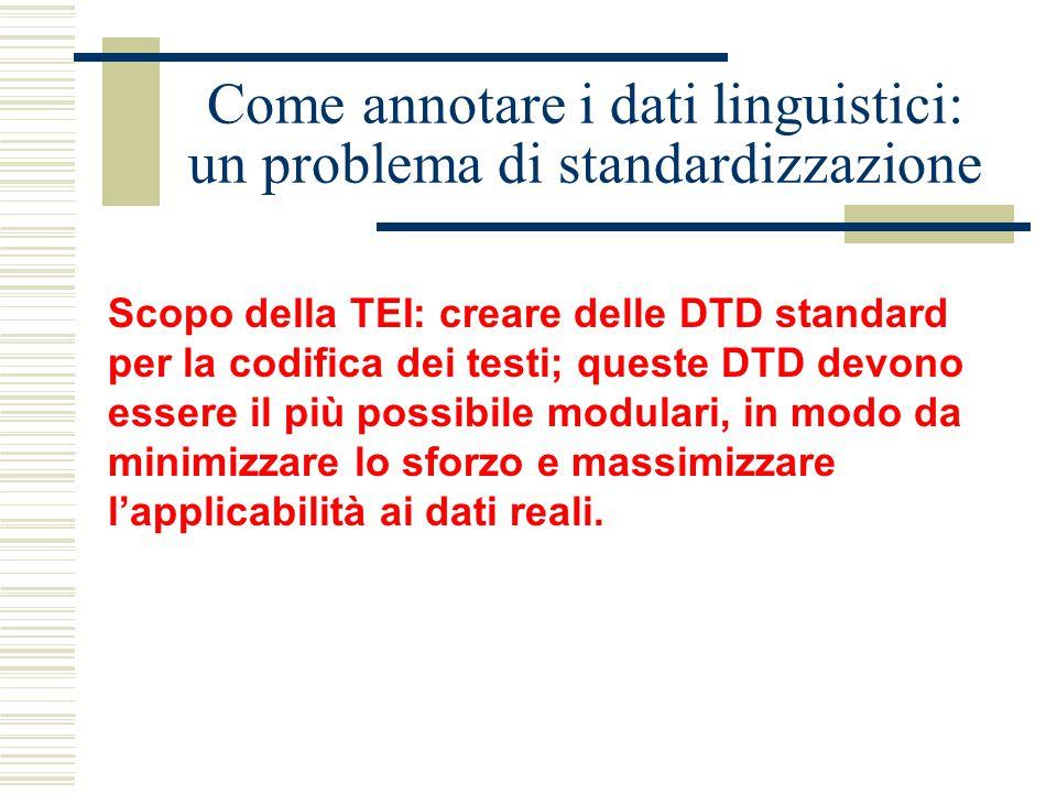 Come annotare i dati linguistici: un problema di standardizzazione Scopo della TEI: creare delle DTD standard per la codifica dei testi; queste DTD devono essere il più possibile modulari, in modo da minimizzare lo sforzo e massimizzare l'applicabilità ai dati reali.