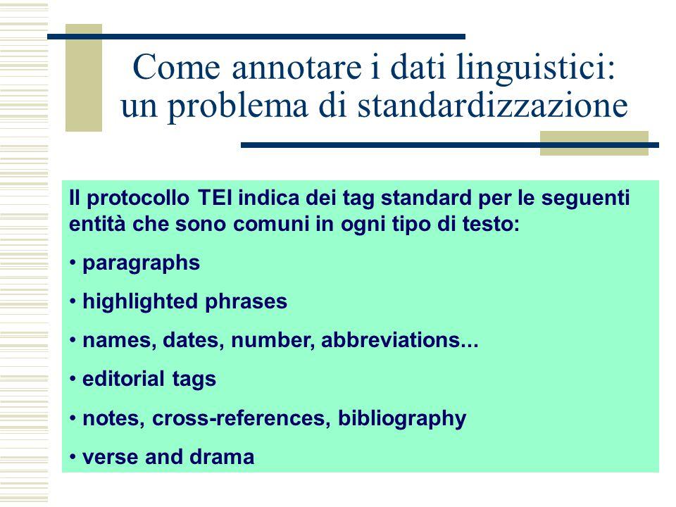 Come annotare i dati linguistici: un problema di standardizzazione Il protocollo TEI indica dei tag standard per le seguenti entità che sono comuni in ogni tipo di testo: paragraphs highlighted phrases names, dates, number, abbreviations...