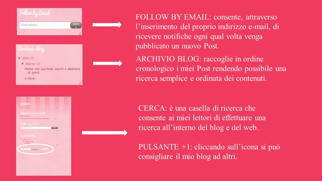 FOLLOW BY EMAIL: consente, attraverso l'inserimento del proprio indirizzo e-mail, di ricevere notifiche ogni qual volta venga pubblicato un nuovo Post.
