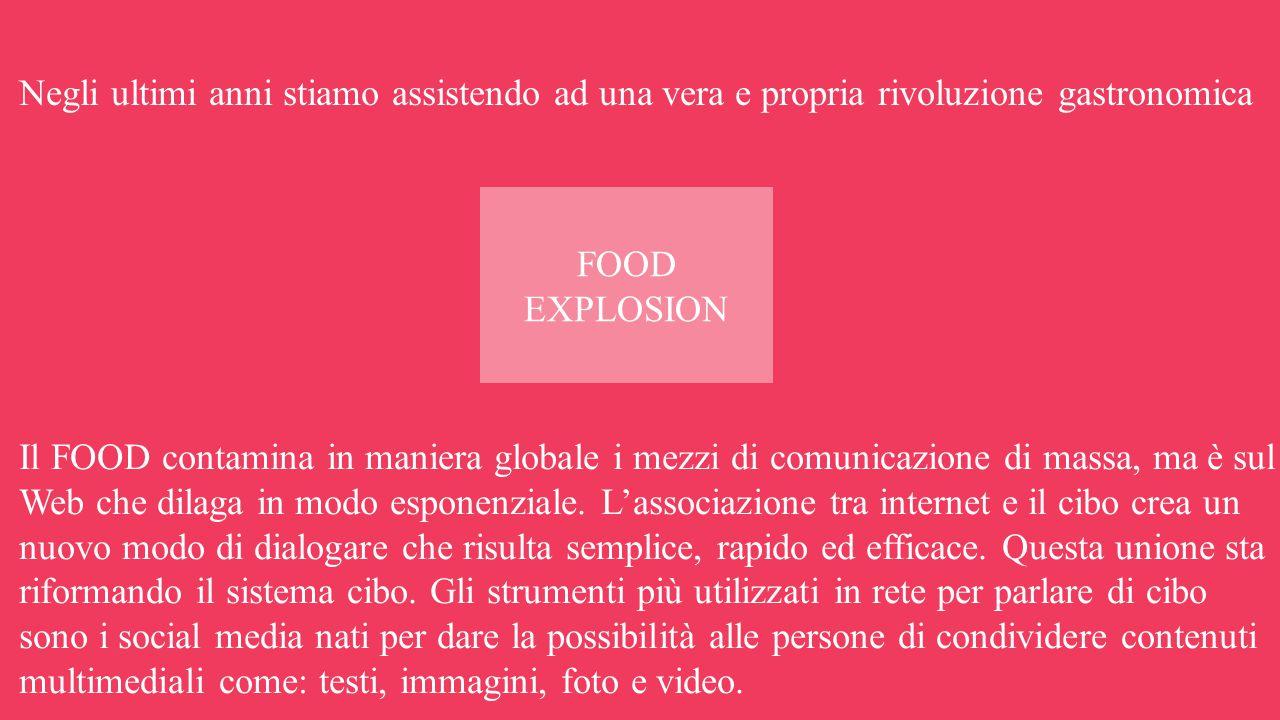 Negli ultimi anni stiamo assistendo ad una vera e propria rivoluzione gastronomica Il FOOD contamina in maniera globale i mezzi di comunicazione di massa, ma è sul Web che dilaga in modo esponenziale.