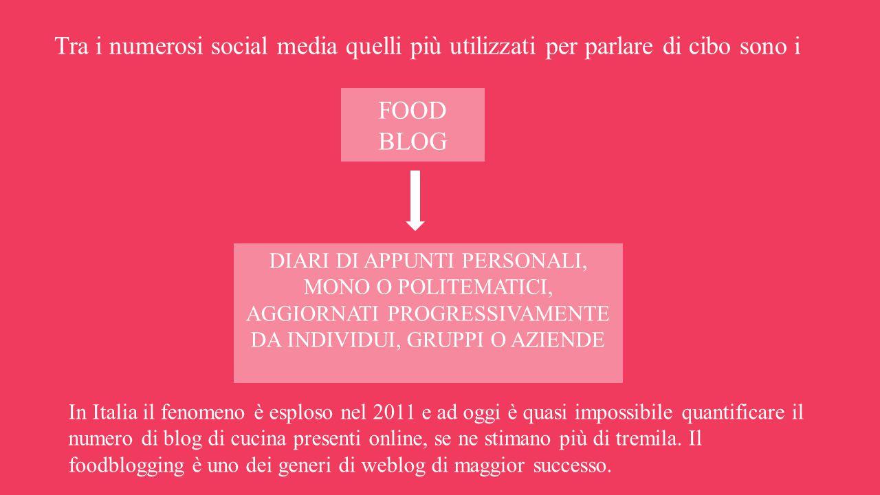 Tra i numerosi social media quelli più utilizzati per parlare di cibo sono i In Italia il fenomeno è esploso nel 2011 e ad oggi è quasi impossibile quantificare il numero di blog di cucina presenti online, se ne stimano più di tremila.