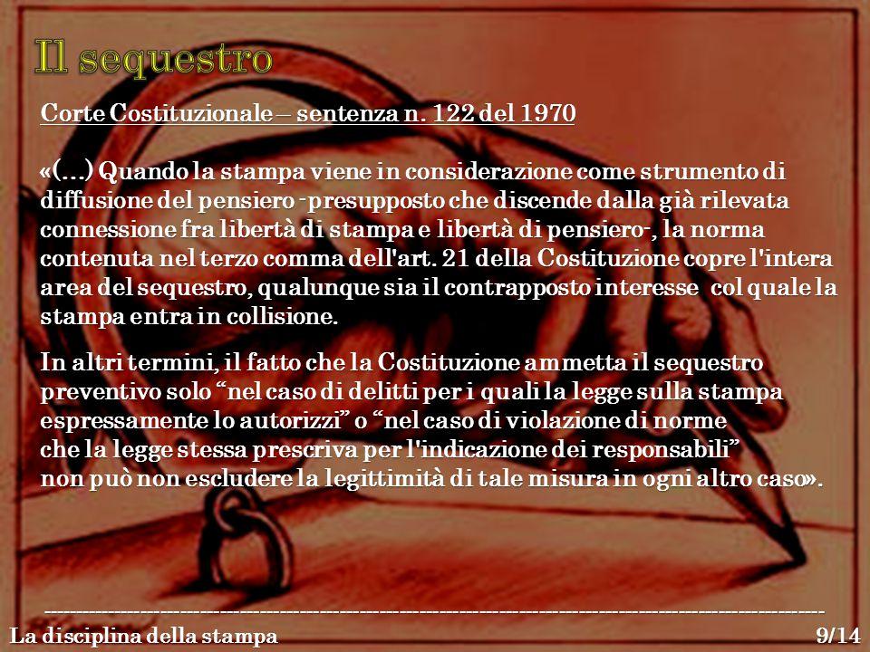 Corte Costituzionale – sentenza n. 122 del 1970 «(…) Quando la stampa viene in considerazione come strumento di diffusione del pensiero -presupposto c