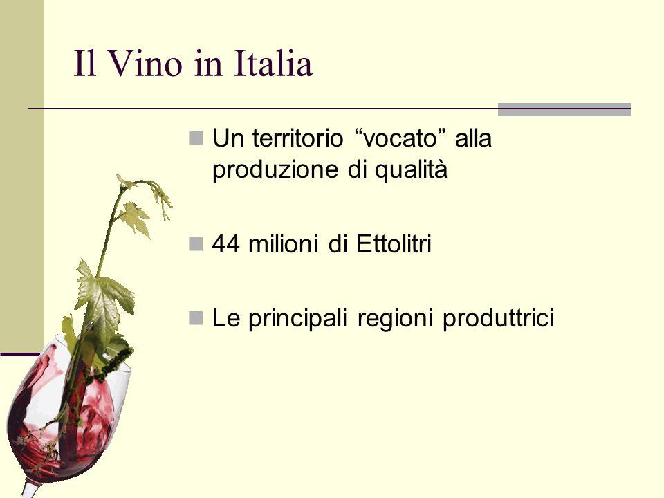 """Il Vino in Italia Un territorio """"vocato"""" alla produzione di qualità 44 milioni di Ettolitri Le principali regioni produttrici"""