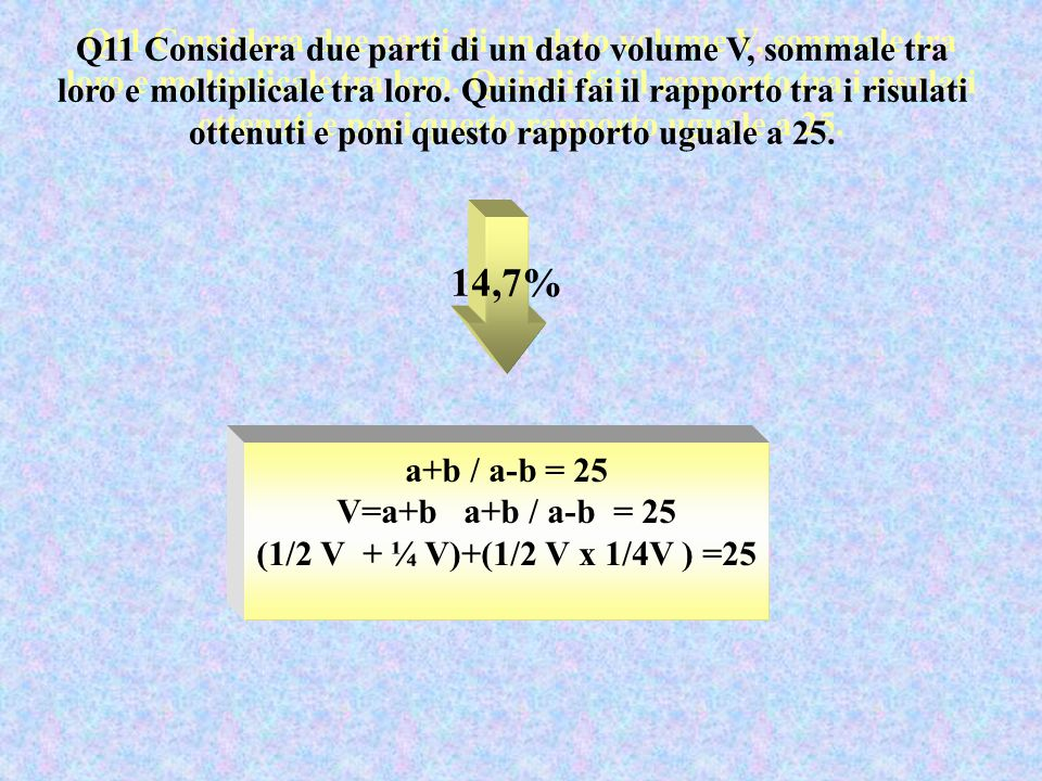 Q11 Considera due parti di un dato volume V, sommale tra loro e moltiplicale tra loro. Quindi fai il rapporto tra i risulati ottenuti e poni questo ra